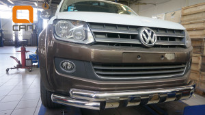 Защита переднего бампера Volkswagen Amarok (2010-) (двойная Shark) d76 76(1)