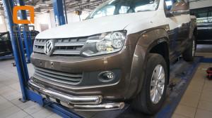 Защита переднего бампера Volkswagen Amarok (2010-) (двойная Shark) d76 76(2)