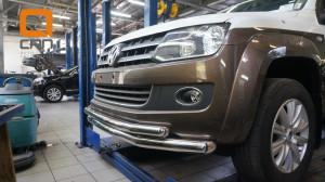 Защита переднего бампера Volkswagen Amarok (2010-) (двойная) d76 60 (2)