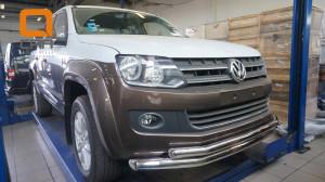 Защита переднего бампера Volkswagen Amarok (2010-) (двойная) d76 60(3)