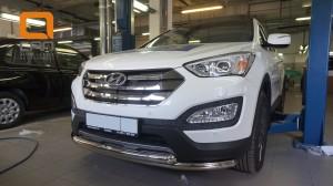 Защита переднего бампера Hyundai SantaFe (2012-) (двойная) d60 60 (несовместима с защитой картера)