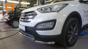 Защита переднего бампера Hyundai SantaFe (2012-) (двойная) d60 60 (несовместима с защитой картера)2