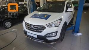 Защита переднего бампера Hyundai SantaFe (2012-) (двойная) d60 60 (несовместима с защитой картера)3