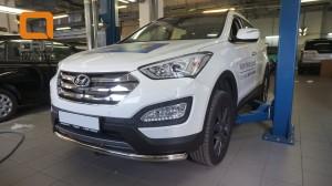 Защита переднего бампера Hyundai SantaFe (2012-) (одинарная) d60 (несовместима с защитой картера)
