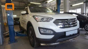 Защита переднего бампера Hyundai SantaFe (2012-) (одинарная) d60 (несовместима с защитой картера)2
