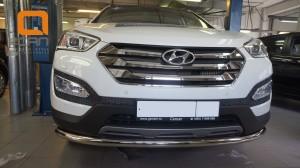 Защита переднего бампера Hyundai SantaFe (2012-) (одинарная) d60 (несовместима с защитой картера)3