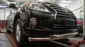 Защита переднего бампера Lexus LX570 (2014-) (двойная) d 76 76 2