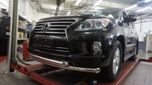Защита переднего бампера Lexus LX570 (2014-) (двойная) d 76 76