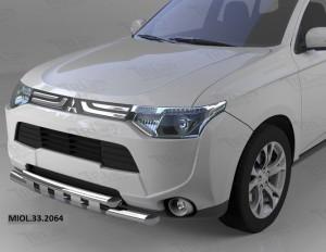 Защита переднего бампера Mitsubishi Outlander (-2014 2014-) (двойная Shark) d60