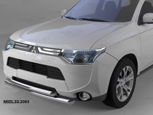 Защита переднего бампера Mitsubishi Outlander (-2014 2014-) (двойная) d 60 60