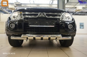 Защита переднего бампера Mitsubishi Pajero (Митсубиши Паджеро) IV (2011-2014 2014-) (двойная Shark) d 76 76 3