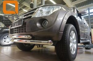 Защита переднего бампера Mitsubishi Pajero (Митсубиши Паджеро) IV (2011-2014 2014-) (двойная) d 76 60 2
