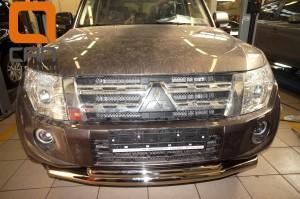 Защита переднего бампера Mitsubishi Pajero (Митсубиши Паджеро) IV (2011-2014 2014-) (двойная) d 76 60 3