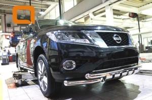 Защита переднего бампера Nissan Pathfinder (2014-) (двойная Shark) d76 76 3