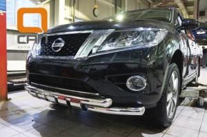 Защита переднего бампера Nissan Pathfinder (2014-) (двойная Shark) d76 76