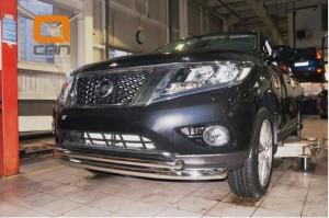 Защита переднего бампера Nissan Pathfinder (2014-) (двойная) d 76 60 3
