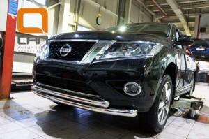 Защита переднего бампера Nissan Pathfinder (2014-) (двойная) d 76 60