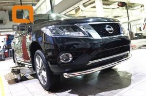 Защита переднего бампера Nissan Pathfinder (2014-) (одинарная) d 76 2