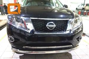 Защита переднего бампера Nissan Pathfinder (2014-) (одинарная) d 76 3