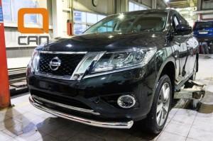 Защита переднего бампера Nissan Pathfinder (2014-) (одинарная) d 76