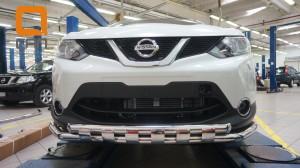Защита переднего бампера Nissan Qashqai (2014-) (двойная Shark) d60 60 3