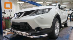 Защита переднего бампера Nissan Qashqai (2014-) (двойная Shark) d60 60