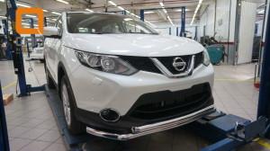 Защита переднего бампера Nissan Qashqai (2014-) (двойная) d60 60 3