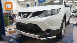 Защита переднего бампера Nissan Qashqai (2014-) (двойная) d60 60