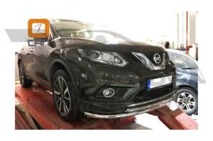 Защита переднего бампера Nissan X-Trail (2014-) (двойная) d 60 42