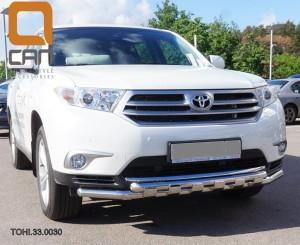 Защита переднего бампера Toyota Highlander (Тойота Хайлендер) (2010-2013) (Shark) d 60 60 1