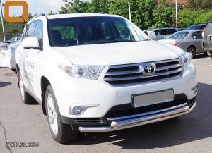 Защита переднего бампера Toyota Highlander (Тойота Хайлендер) (2010-2013) (двойная) d 60 60