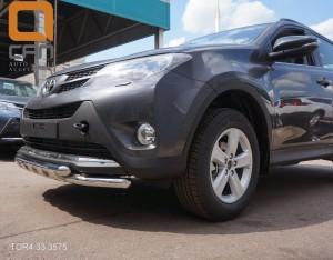 Защита переднего бампера Toyota RAV4 (Тойота РАВ4) (2013-) (двойная Shark) d 60 60 2