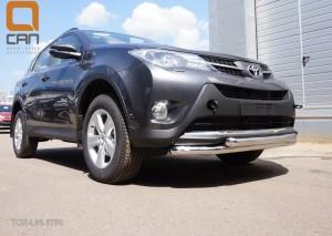 Защита переднего бампера Toyota RAV4 (Тойота РАВ4) (2013-) (двойная) d 60 60 2