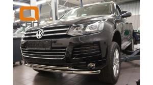 Защита переднего бампера Volkswagen Touareg (2010-) (двойная) d60 60