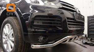 Защита переднего бампера Volkswagen Touareg (2010-) (одинарная Shark) d60 42 2