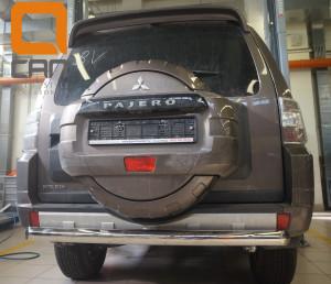 Защита заднего бампера Mitsubishi Pajero (Митсубиши Паджеро) IV (2011-2014 2014-) (одинарная) d 76 2