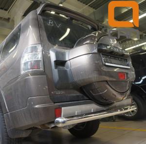 Защита заднего бампера Mitsubishi Pajero (Митсубиши Паджеро) IV (2011-2014 2014-) (одинарная) d 76 3