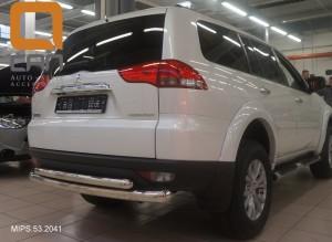 Защита заднего бампера Mitsubishi Pajero Sport (Митсубиши Паджеро) (2008-) (двойная) d 76 60 3