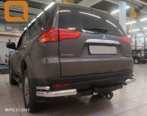 Защита заднего бампера Mitsubishi Pajero Sport (Митсубиши Паджеро) (2008-) (уголки) d 76 42 2