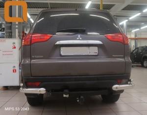 Защита заднего бампера Mitsubishi Pajero Sport (Митсубиши Паджеро) (2008-) (уголки) d 76 42 3