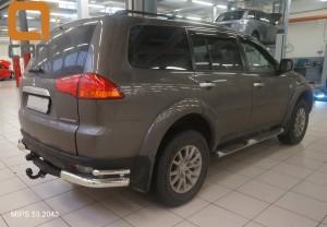 Защита заднего бампера Mitsubishi Pajero Sport (Митсубиши Паджеро) (2008-) (уголки) d 76 42