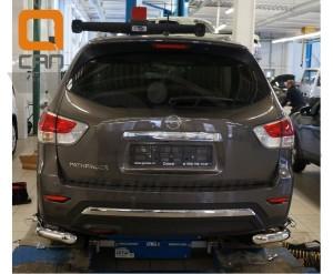 Защита заднего бампера Nissan Pathfinder (2014-) (уголки) d 76 42 2