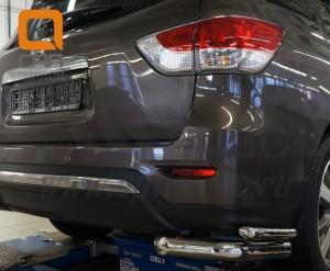 Защита заднего бампера Nissan Pathfinder (2014-) (уголки) d 76 42 3
