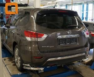 Защита заднего бампера Nissan Pathfinder (2014-) (уголки) d 76 42
