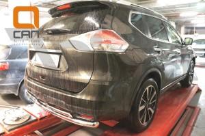 Защита заднего бампера Nissan X-Trail (2014-) (двойная) d 60 42 2