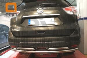 Защита заднего бампера Nissan X-Trail (2014-) (двойная) d 60 42 3