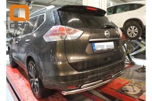 Защита заднего бампера Nissan X-Trail (2014-) (двойная) d 60 42