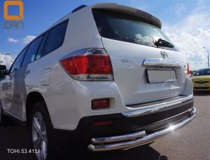 Защита заднего бампера Toyota Highlander (Тойота Хайлендер) (2010-2013) (одинарная с уголками) d 6042 2