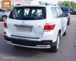 Защита заднего бампера Toyota Highlander (Тойота Хайлендер) (2010-2013) (одинарная с уголками) d 6042 3