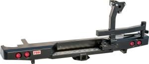 Бампер РИФ задний Nissan Navara D40 с квадратом под фаркоп, калиткой и фонарями